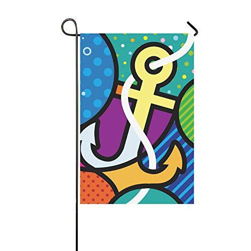 EIJODNL Dekorative Doppelseitige Kunst Pop Art Anker Moderne Grafik für Ihr Design Garten-Flagge, Haus Hof, Garten, Garten, Garten, Garten, Weihnachten, Willkommen Outdoor Flagge, 30,5 x 45,7 cm - Grafik-pop