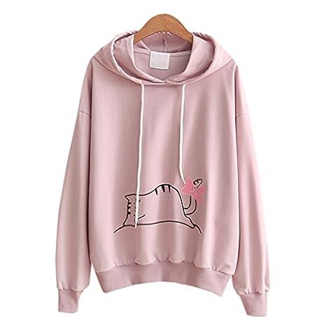 DaBag Damen Herbst Dünn Katze Kapuzenpullover Kawaii Sweatshirts Studentisch Pullover Langarm Sweater Lose T-shirts (One size, Rosa)