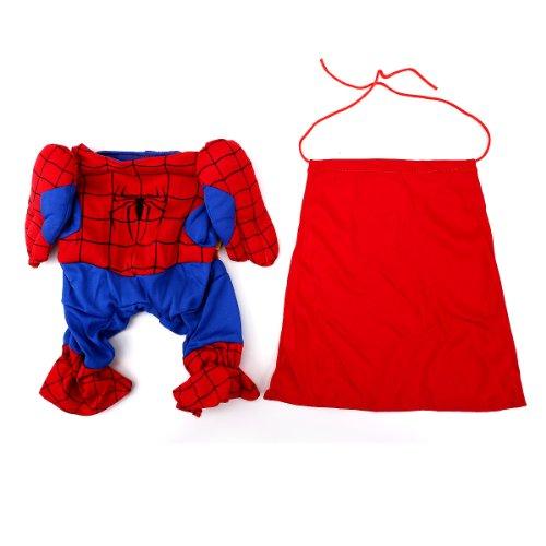 Hunde Haustier Bekleidung Hundepullover Hundekleidung Kostüme Spiderman Anzug Hundejacke Größe L (Spiderman Kostüm Haustier)