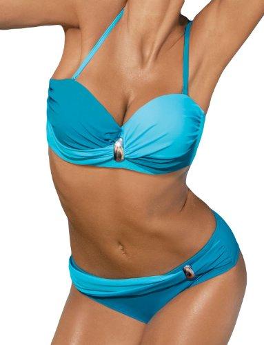 Marko Liliana M-259 Bikini Set Dame Bademode musterlos gerafft abnehmbar EU, Größe S, himmelblau-blau - Geraffte Bügel