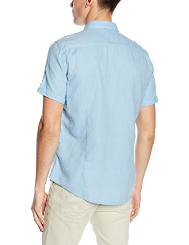 Tom Tailor Floyd Sporty Structure Shirt, Chemise Homme Bleu (hazy blue 6868)