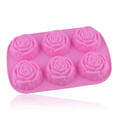 Apollo23 - 6 de fleur de Rose Silicone Ustensiles Mold Plateau Moule pour gâteau / chocolat / sucrerie / Jelly / Glace /