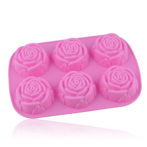 Apollo23 Moule en silicone pour gâteau/ chocolat/ confiserie/ gelée/ glace/ biscuit 6cavités en forme de rose