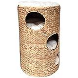 animal-design Katzentonne ca. 70 cm Katzenbaum NATUR aus Wasserhyazinthe mit 3 x kuschelige Katzenhöhle (3 Etagen) und 1 Liegefläche, 4 weichen Kissen