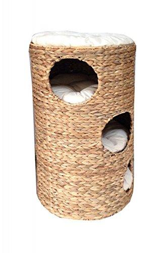 animal-design Katzentonne ca. 70 cm Katzenbaum Natur aus Wasserhyazinthe mit 3 x kuschelige Katzenhöhle (3 Etagen) und 1 Liegefläche, 4 weichen Kissen -