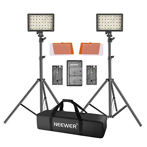 Neewer LED Video Luz Kit 190cm Soporte Luz 2-Pack