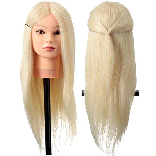 LuckyFine 24'' 80% Cheveux Long Blanc Naturel Tête d'exercice Femme Mannequin+ Support