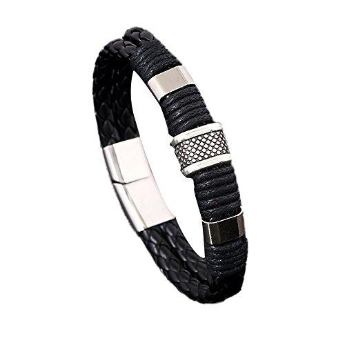 WUSIKY Schmuck Damen Mädchen Armbänder Vintage Elegante Echtes Leder Armband Männer Edelstahl Leder Handgewebte Armband Geburtstage Hochzeitstag Geschenke für Damen Mom (Schwarz) -