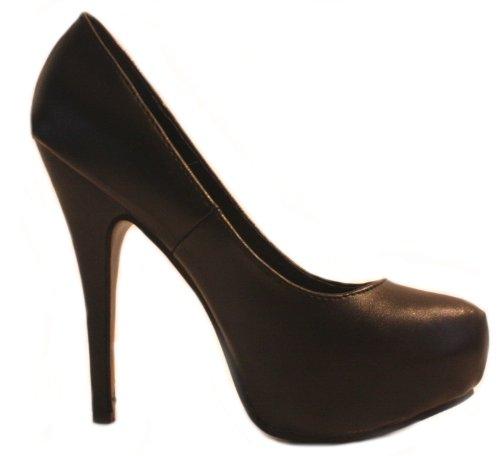Erogance Kunstleder Plateau High Heels, Stivali donna Nero (nero)