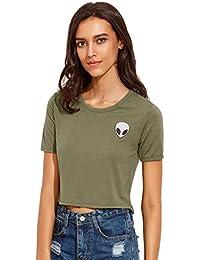 ROMWE Damen Kurzarm Crop Kurz T-Shirt mit Alien Aufdruck Gecropt Top Shirt  Armee Grün 812a492ebf