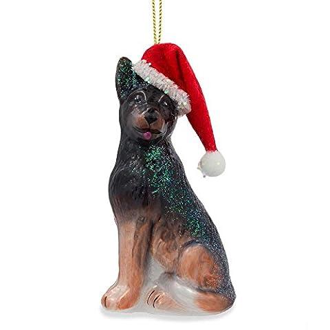 10,2cm German Shepard Puppy Mundgeblasenes Glas Weihnachten Ornament