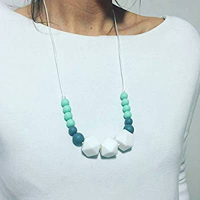 Cadeau de naissance - Collier d'allaitement, de Portage et de Dentition - Lily Minty Blanc & Mint