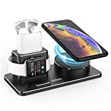 JOYEKY Apple Watch Ladestation Wireless Charger 10W QI Ladestation für iPhone XS Max/Xs/XR/X/8/8 Plus, Kompatibel mit Apple Watch Series 4 3 2 1 AirPods inkl 2 Kabel