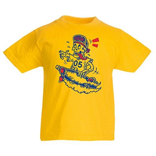 lepni.me Kinder Jungen/Mädchen T-Shirt der Schädel Skater, Skate-Ausrüstung, Skateboarder, Street Urban Clothing, Coole Geschenke Idee (1-2 years Gelb Mehrfarben)