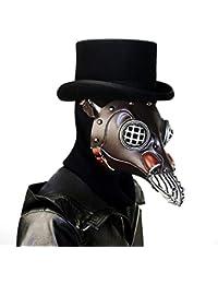 Deebubblering Cuero Steampunk Full Face Plague Doctor máscara de pájaro Largo y Corto Pico de la