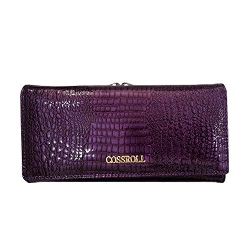 Damen Geldbörse aus Leder Luxus Elegant Wallet Dreiseitige Lang Geldbeutel Frauen Vintag Kreditkarten-Kupplungshalter Kiss Lock Violett