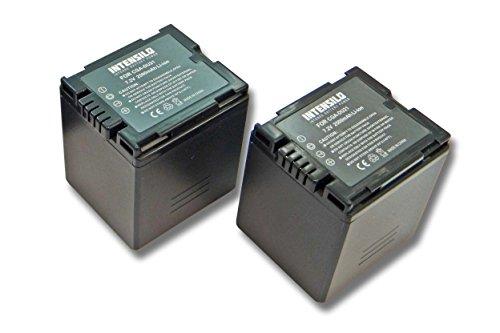 INTENSILO 2X Li-Ion Akku 2500mAh (7.2V) für Videokamera Camcorder Panasonic NV-GS300, NV-GS330, NV-GS400, NV-GS500 wie CGA-DU07, VW-VBD140, DZ-BP21. Li-ion Camcorder-akku
