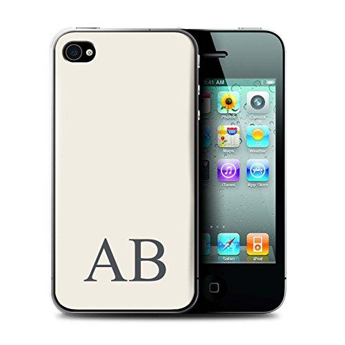 Personalisiert Pastell Monogramm Hülle für Apple iPhone 4/4S / Elfenbein Design / Initiale/Name/Text Schutzhülle/Case/Etui Elfenbein