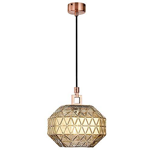 Zeitgenössische gerippte Glasschirm Decke Anhänger Leuchte für Wohnzimmer Schlafzimmer Restaurant hängen Mini Kronleuchter - 9,8 x 10,8 Zoll -