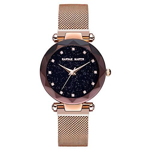 ZHANGZ0 Mode Uhr Damen Quarzuhr Magnetischer Eisen Mineral Spiegel Passend Für Geschäft Und Freizeit,E - Mineral Eisen