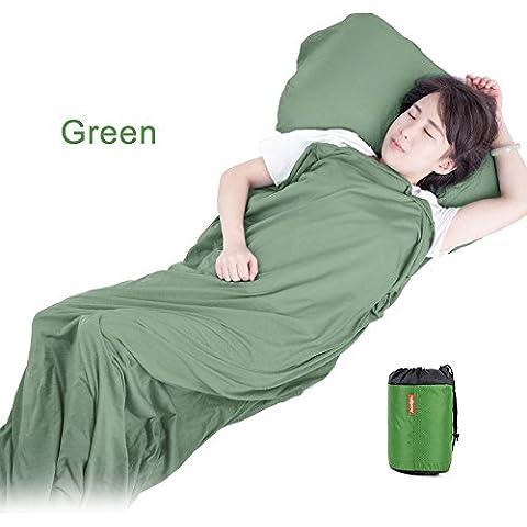 Ultraligero PortáTil Plegable Del Saco De Dormir Liner AONIJIE Al Aire Libre Saco Liner Manta De Moda Para Los Viajes Hoja De Camping Ensanchamiento Dormir Trazadores De LíNeas Del Bolso (verde)