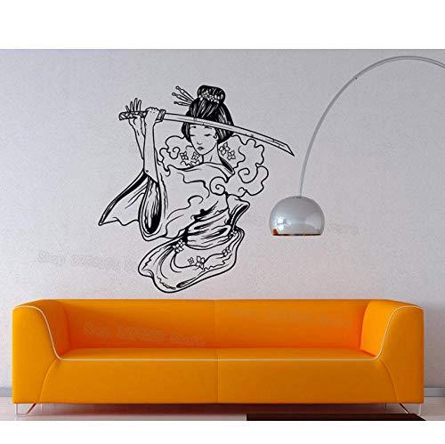 Samurai Geisha Japanische Katana Schwerter Anime Dekorative Vinyl Wandaufkleber Wohnkultur Wohnzimmer Jungen Mädchen Schlafzimmer Mural57x60cm (Professionelle Samurai-schwert)
