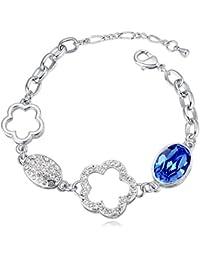 Hot And Bold Swarovski Crystals Silver Plated Charm Bangle/Kada/Bracelet. Daily/Party Wear Fashion Jewellery.