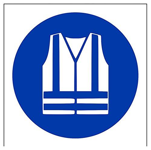 vsafety 41036af-r Hohe Sichtbarkeit Kleidung Logo Pflicht Schutzbekleidung Zeichen, starrer Kunststoff, eckig, 100mm x 100mm, blau