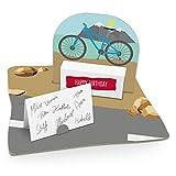 itenga Fahrrad modern Geldgeschenk Gastgeschenk Verpackung Geschenk Gutschein mit Bodenplatte, Geschenkkarte und Stickerbogen