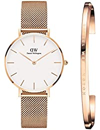 Daniel Wellington Classic Petite Melrose Analogue White Dial 32Mm Watch & Rose Gold Cuff Combo for Women_Dw00500019