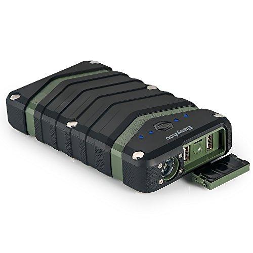 EasyAcc Batería Externa 20000mAh Resistente al Agua Polvo y Golpes Cargador de Viaje con Salida 2.4A para iPhone Samsung Tabletas Negro y Verde