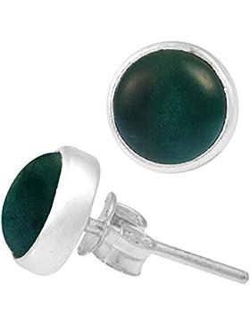 Chic-Net Ohrstecker Jade grün rund 10 mm 925er Sterling Silber Rand Stein Silberohrstecker
