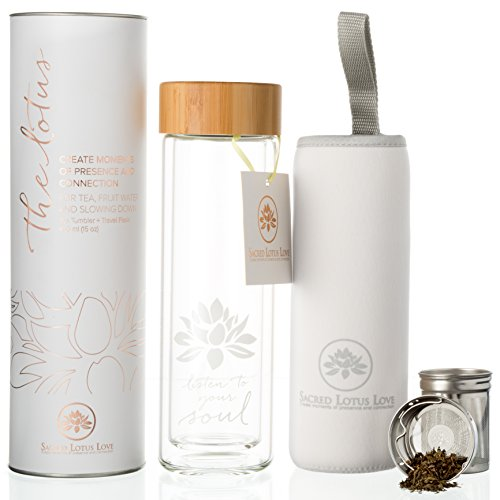 The Lotus Glass Tea Tumbler Bottle with Infuser + Strainer for Loose Leaf & Ice Tea, Cold Brew Coffee or Fruit Water. Bamboo Lid 450ml. Travel Bottle