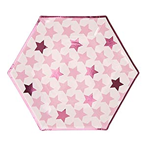 Neviti- Little Star Pink-Large Paper Plate-8 Pack Papel, Color rosa, 27 x 27 x 0.5 (775318)