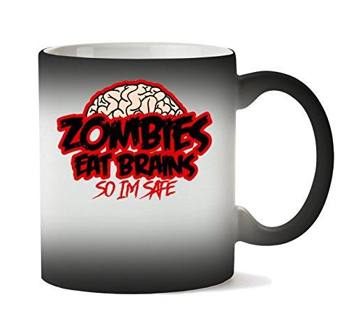MugWorld Zombies Eat Brains So Im Safe Tasse Hitze Farbwechsel