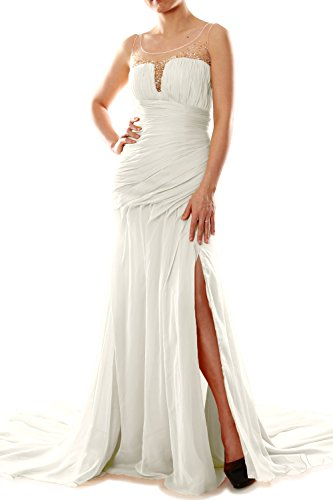 MACloth Women Mermaid Chiffon Long Prom Dress Formal Evening Party Ball Gown Ivoire