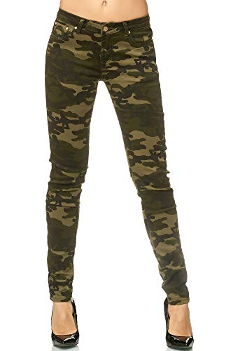Army Jeans (Elara Damen Stretch Hose | Skinny Röhrenjeans | Elastischer Bund | Slim Fit | Chunkyrayan E583 Army 36)