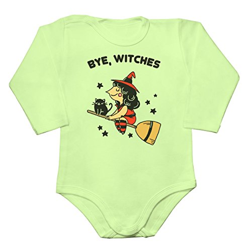 Bye, Witches Pretty Which Flying On Her Broom Baby Long Sleeve Romper Bodysuit Babyspielanzug XX-Large