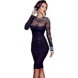 Ovender® Vestido Ropa Elegante Baile Dama Cerimonia Vestidos Corto para Mujer Niñas Party Casual, Formal, Elegante, para Todo Tipo de Fiestas - L - Negro