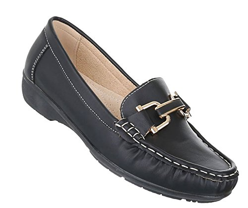 Damen Mokassins Schuhe Slipper Loafers Moderne Schwarz