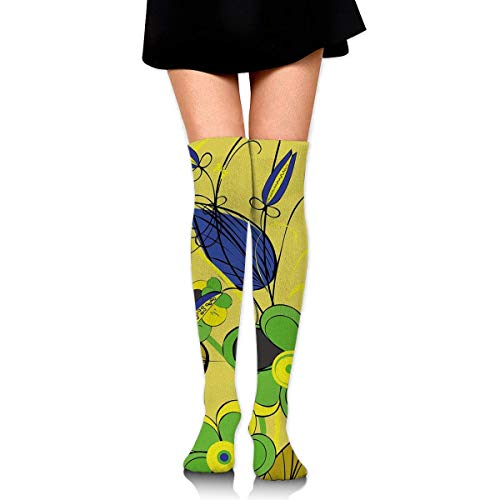 dfegyfr Yellow Flower Shading Women's Knee High Socks Fancy Design, Best for Running, Athletic Sports,Yoga.