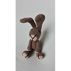 Hase Samy – dunkelbraun – BIO Wolle – tolles Kuscheltier Geschenk für Kinder