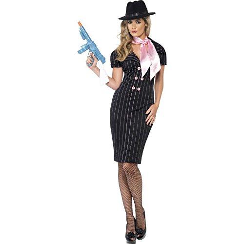 Smiffys, Damen Gangsterbraut Kostüm, Nadelstreifen-Bleistiftkleid und Halstuch, Größe: -