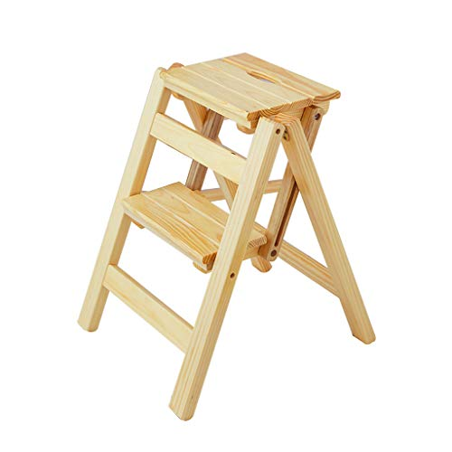 Qujifangtd Tritthocker, Hölzern Stufenleiter Tragbar 2/3 Stepper Holz Regal Blumenständer Faltbar (Farbe : Holzfarbe, Stil : 3 Tiers)