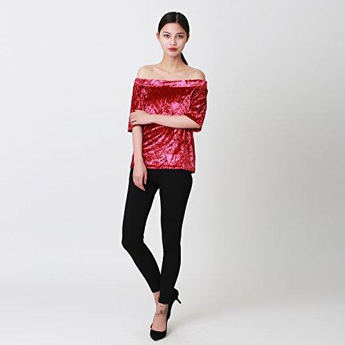 LAEMILIA Femmes T-shirts Velvet Manches Courtes Epaule Nue Chemise Blouse Casual Slim Sexy Bandeau Hauts Tops Rouge