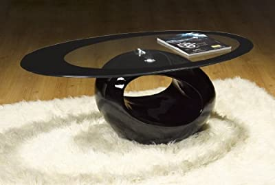 Designer Oval Coffee Table (BLACK) - inexpensive UK coffee table shop.