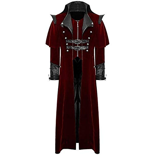 FRAUIT Herren Alter Ritter Gothic Mantel Frack Cosplay Gehrock Uniform Kostüm Party Outwear Marinemantel Tuch Herrenmantel Winterjacke Gothic Peacoat Wintermantel S-3XL (Uniform Kostüm Party)