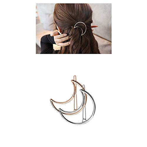 oro y plata Fascigirl 8 piezas de pasadores de pelo tr/í/ángulo de luna mariposa para ni/ñas grueso pelo estilismo Clip de pelo para mujeres oro y plata