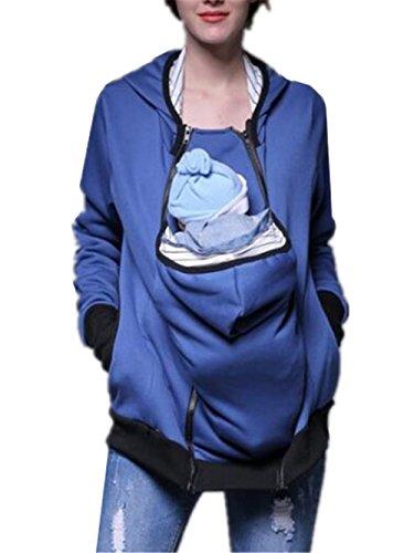 AILIENT Pullover Femmes Turtle Neck Loose Chaud Top Sweatshirts à Manches Longues Pull Décontracté Avec Poche Kangourou Blue2