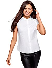 oodji Ultra Mujer Camisa con Cuello MAO de Manga Corta Raglán